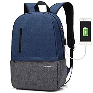 Laptop Backpack, Waterproof School Backpack With USB Charging Port For Men Women, Lightweight Anti-theft Travel Daypack College Student Rucksack Fits up to 15.6 inch Computer (Blue)