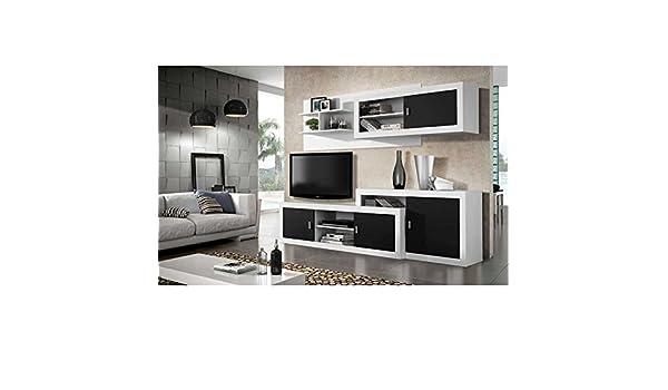 Mueble salón TV Completo, Color Blanco y Negro, Subida A ...