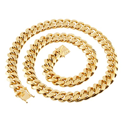 Rope 25mm Chain (W&W Lifetime Mens 24k Gold Plated 25