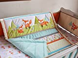NAUGHTYBOSS Unisex Baby Bedding Set Cotton 3D Embroidery Prairie Fox Quilt Bumper Bedskirt Fitted Blanket 8 Pieces Color Matching