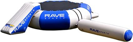RAVE Sports Splash Zone Plus 12-Foot Water Bouncer with Log, Slide, and Swimming Platform, Blue, 22' x 19.5' x 48