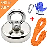 Powerful Magnets Fishing with 98Ft(30M) Nylon Rope, Carabiner and Hand Gloves, 330Lbs(150Kg) Pulling Force Strong Neodymium Magnet for Salvage, Fishing and Retrieving