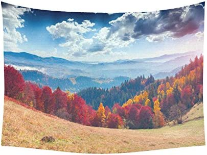 INTERESTPRINT Autumn Landscape Home Decor Tapestries Wall Art, Colorful Mountain Forest Tapestry Wall Hanging Art Sets 60 X 40 Inches