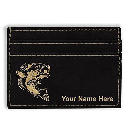- Money Clip Wallet, Bass Fish, Personalized Engraving Included (Black)
