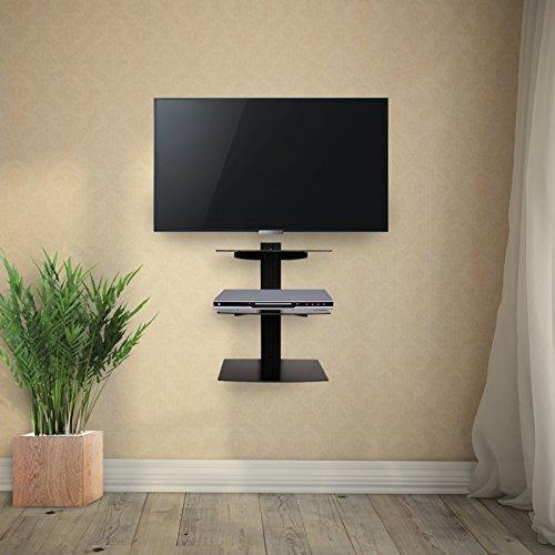 Porta Tv Da Parete Con Mensola.Jago Supporto Mensola Porta Lettore Dvd Da Parete Con 3 Ripiani In Vetro Ca 38 58 30 Cm