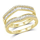 1/2 ct Natural Round and Baguette Wrap Guard Ring Solid 14K Yellow Gold (9)