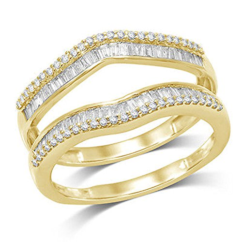 (OMEGA JEWELLERY 1/2 ct Natural Round and Baguette Wrap Guard Ring Solid 14K Yellow Gold (8))
