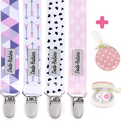 Pacifier Clip by Dodo Babies Pack of 4 + Pacifier Case, Premium Quality for Girls Modern Designs Universal Holder Leash for Pacifiers, Teething Toy or Soothie, Baby Shower Gift Set ()