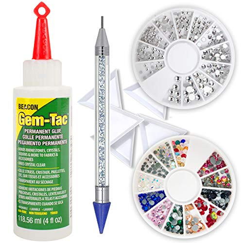 (Beacon GT4D Gem-Tac Permanent Adhesive, 4-Ounce, Pixiss 6-inch Jewel Picker Setter Tool, 2x Gem Wheel 240 Flatback Clear & Color Rhinestone, 5 Triangle Bead Trays Wax Pencil Applicator Application Kit)