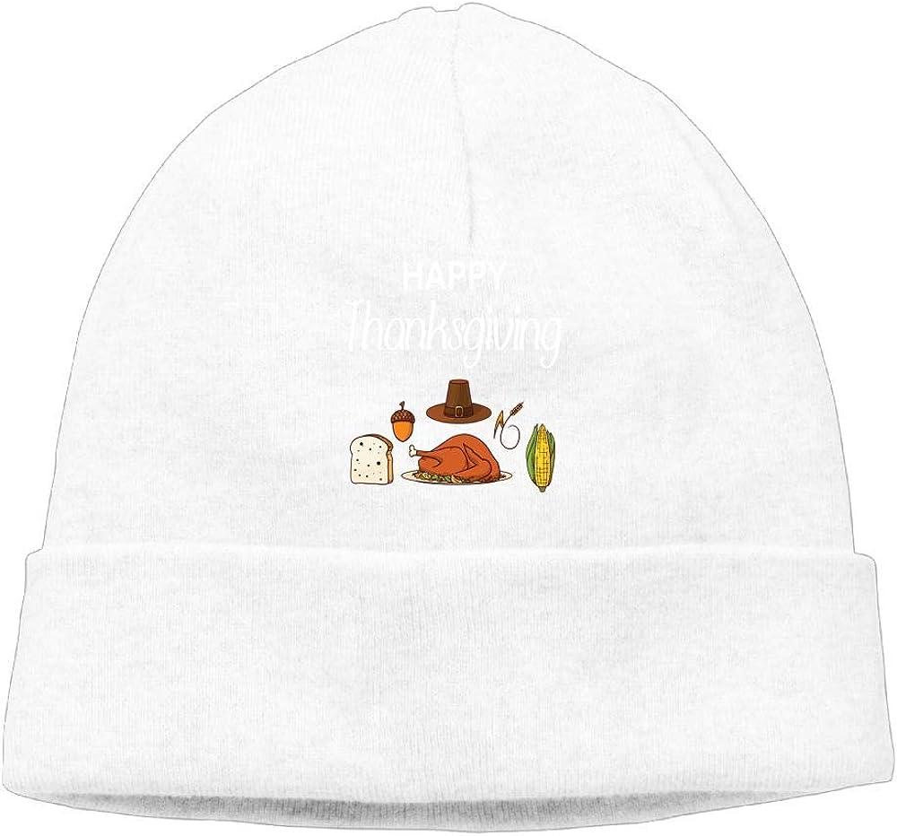 Oopp Jfhg Happy Thanksgiving Funny Beanie Knit Hat Skull Caps Unisex White