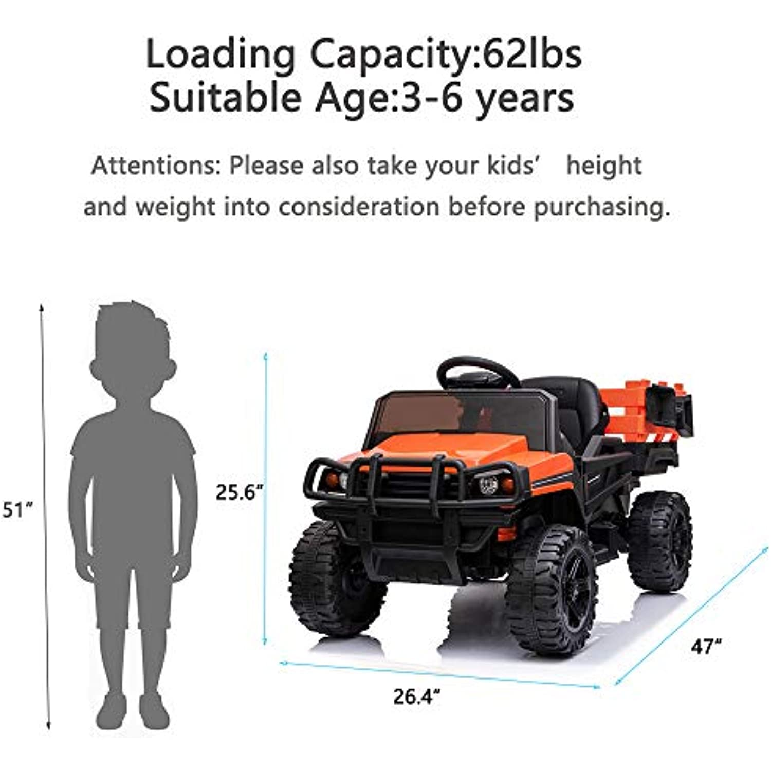 SEGMART Ride on Truck, 12V Ride on Car w/ 2.4G Parental Remote Control, Powered Electric Vehicle with LED Headlight, Horn, Safety Belt, Music, Forward Backward, MP3/ AUX/USB/FM for Kids