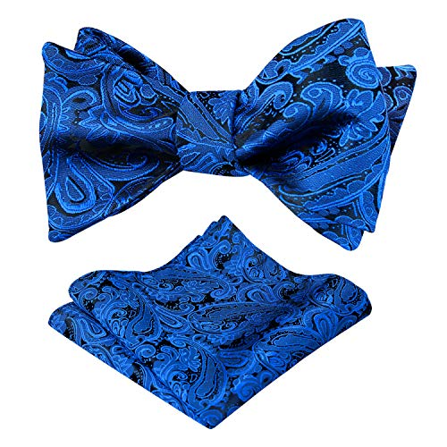 Alizeal Mens Paisley Jacquard Self Bow Tie Pocket Square Set (Royal Blue)