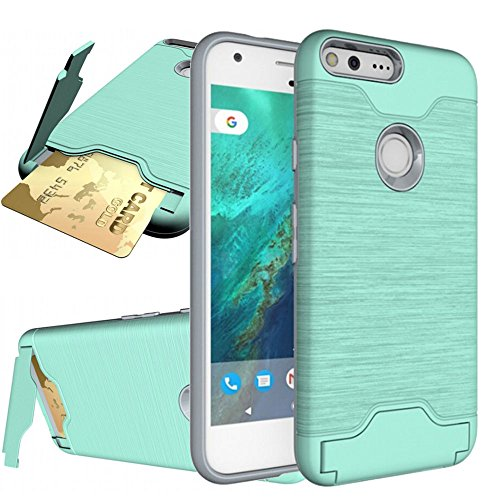 Google Pixel Case,Google Pixel Wallet Case, [Shock Absorption] Hybrid Dual Layer Protective Case for Google Pixel(5.0 inch 2016 Released),with Card Slot and Kiskstand Features,Mini Green (5 Inch Screen Phone Case)