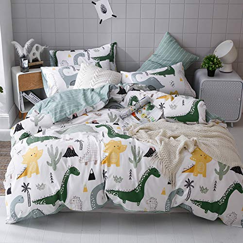 EnjoyBridal White Dinosaur Kids Bedding Comforter Cover Set Queen Boys, 100% Cotton Teens Bedding Sets Full with 2 Pillow Shams, Super Soft Green Striped Duvet Cover Set Queen, No Comforter ()