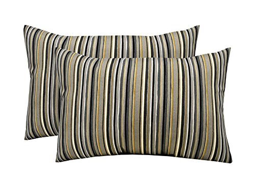 RSH Décor Indoor Outdoor Set of 2 Decorative Rectangular Lumbar Throw Pillows ~ Tan Black Gold Grey/Gray Ivory Stripe (12