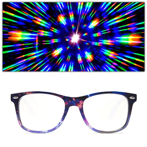 GloFX Galaxy Print Diffraction Glasses - Rave Grating Prism Effect Stars Universe Space - Rave Glasses Diffraction