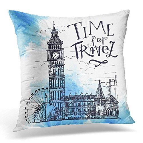 Sdamas Decorative Pillow Cover Blue England London Landmark Landscape of Big Ben Tower Sketch Clock Throw Pillow Case Square Home Decor Pillowcase 16x16 Inches