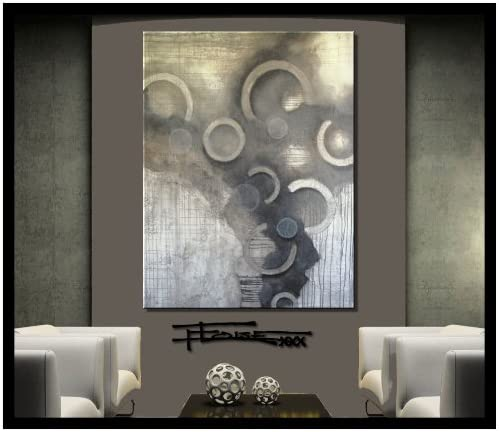 Large ABSTRACT PAINTING CANVAS WALL ART Gray Brown Framed US ELOISExxx Signed