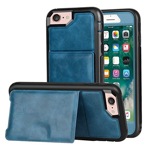 Wallet Case iPhone 7 / iPhone 8 Kickstand, ZAOX Military Grade Drop Protection Flip Premium Leather Protective Credit Card Slot Holder Magnetic Closure Shockproof Cover 4.7 inch (Blue) (Iphone 5 Giving Tree Case)
