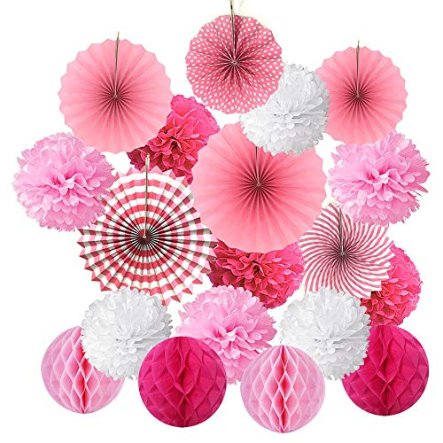 dezirZJjx Hanging Paper Fan Set,Hanging Paper Tissue Paper Pom Poms Flower Fan and Honeycomb Balls for Birthday Baby Shower Wedding Festival Decorations Pink]()
