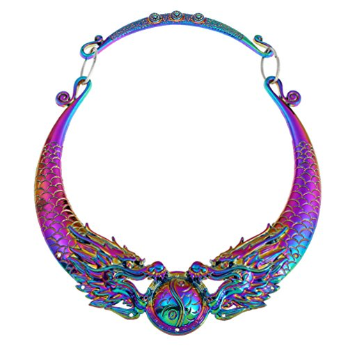 (Lanue Women Retro Ethnic Carved Colorful Chunky Collar Choker Necklace Indian Exaggerated Jewelry (Colorful)