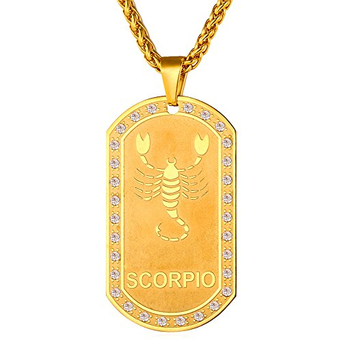 U7 Zodiac Jewelry With Cubic Zirconia Men Women 18K Gold Plated Dog Tag Pendant Necklace - Scorpio