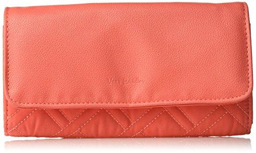 Vera Bradley RFID Audrey Wallet, Microfiber, Coral - Microfiber Womens Wallet