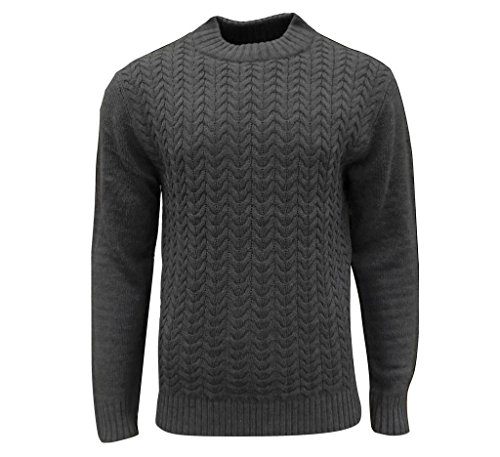 Soul Star Men's Tugger Turtle Neck Cable Knit Jumper Grey X-Large