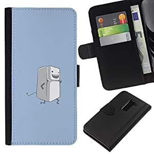 NEECELL GIFT forCITY // Billetera de cuero Caso Cubierta de protección Carcasa / Leather Wallet Case for LG G2 D800 // Correr Nevera divertido