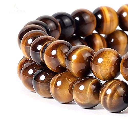 8mm Black Onyx Gemstone Round Loose Beads for Jewelry Making (Yellow Tiger Eye) ()