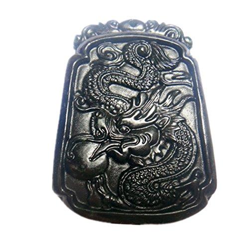 - Natural Black Jade Dragon Pendant Amulet Mascot
