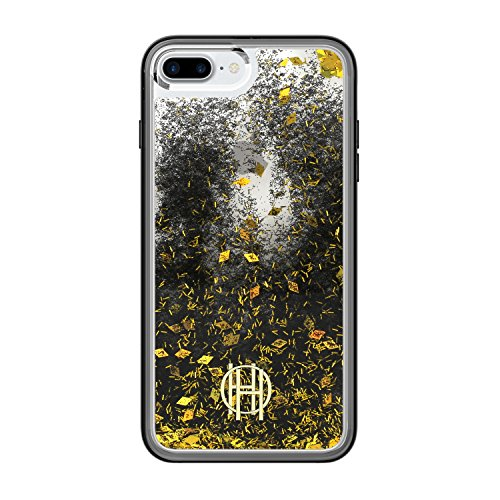 House of Harlow 1960 iPhone 7 Plus Liquid Glitter Case - Translucent Black/Gold Glitter/Black Glitter