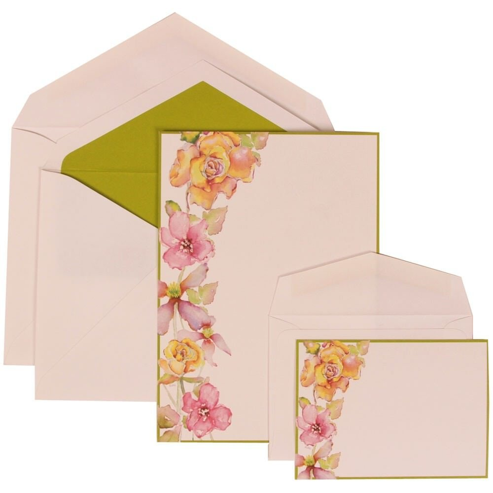 JAM Paper Wedding Invitation Combo Set - 1 Large & 1 Small - Green Flower Set, White Floral Card with Kiwi Green Lined Envelope -100/pack