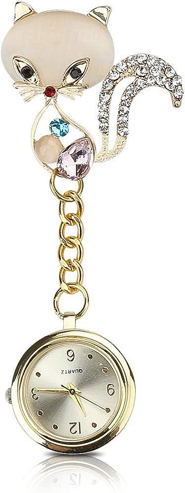 CestMall Reloj de enfermería Patrón de Flores Reloj de Acero Blanco Reloj de Bolsillo Reloj de enfermería Reloj de paramédico Doctor de Bolsillo Reloj de enfermería con Clip