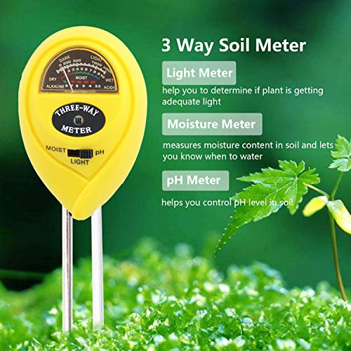 [2018 Upgraded] Soil Moisture Meter - 3 in 1 Soil Test Kit Gardening Tools PH, Light & Moisture, Plant Tester Home, Farm, Lawn, Indoor & Outdoor (No Battery Needed) by Fomei (Image #4)