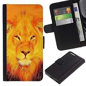 Billetera de Cuero Caso Titular de la tarjeta Carcasa Funda para Apple Iphone 6 PLUS 5.5 / BIBLE Jesus Lion / STRONG