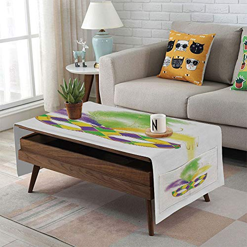 iPrint Linen Blend Tablecloth,Side Pocket Design,Rectangular Coffee Table Pad,Masquerade,Colorful Carnival Mask Romance Celebration Theme Hiding Eyes Design,Purple Green Yellow,for Home ()