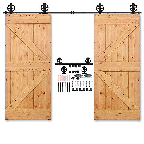 CCJH 17FT Heavy Duty Sliding Barn Wood Door Hardware Track Kit - Smoothly and Stable - Easy Installation - 17 Foot Rail Double Door Kit (Big Wheel T Shaped Hangers)