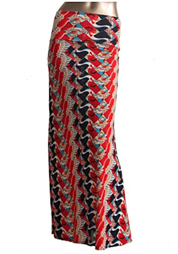 Azules Women's Poly Span Multiple Selection Print Maxi Skirt (M, Red&Blue E37)