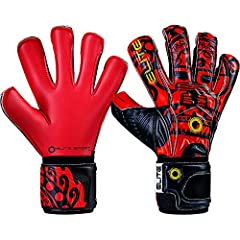Elite Sport 2019 Inca Goalkeeper Gloves - Red-Black-Yellow 10 PALM: 4 mm SGB latex for excellent grip + 4 mm of backing foam. FINGER PROTECTION: Yes. 5 removable finger spines. CUT: NRoll with wrapped thumb. BACKHAND: 4 mm durable PS latex + ...