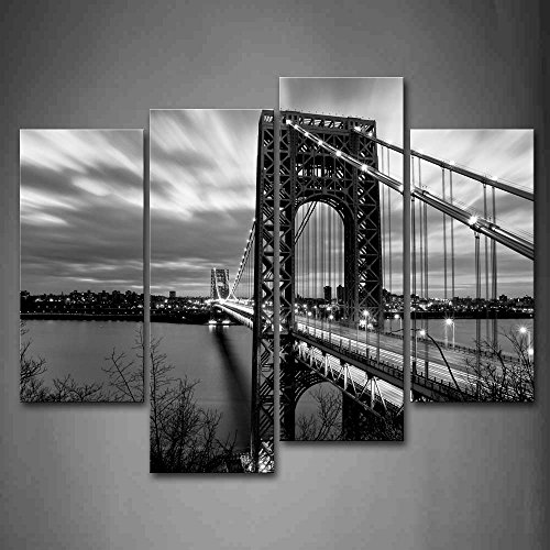 First Wall Art - Black And White Quiet Lake Above George Washington Bridge Wall Art Painting Pictures Print On Canvas City The Picture For Home Modern Decoration by Firstwallart