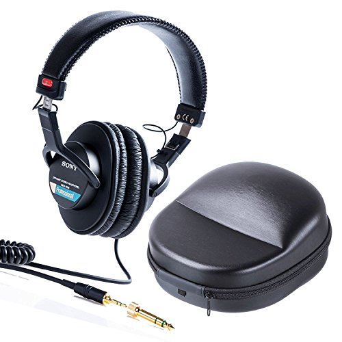 Sony MDR-7506 Professional Large Foldable Headphones Plus Protective Travel Case ()