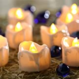 12 Packs [2 Naissance] Battery Operated Candle LED Unscented Flickering Flameless Tea Lights, Last up to 48 hours, Perfect for Birthday Wedding Party Home Decor [Warm White]