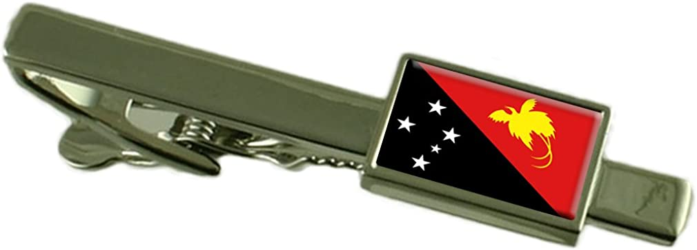 Papua New Guinea Flag Tie Clip Bar 55mm Keepsake Engraved Personalized Case