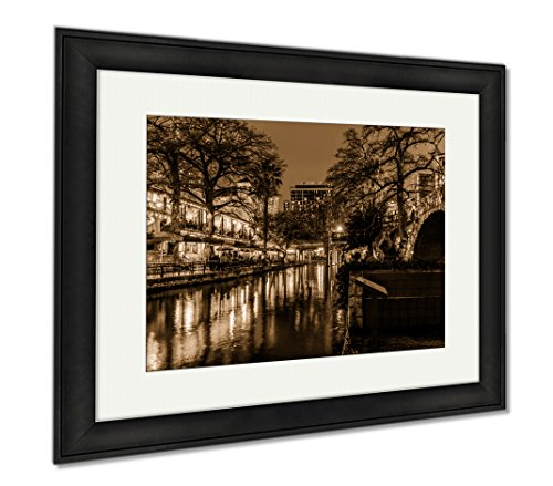 Ashley Framed Prints The Riverwalk At San Antonio Texas At Night, Wall Art Home Decoration, Sepia, 26x30 (frame size), Black Frame, - Riverwalk San Antonio Shops