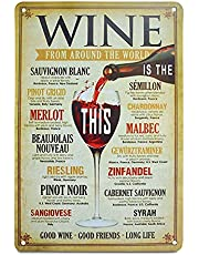 """Wine Vintage Tin Bar Accessories And Decor For Home Signs Alcohol Wall Art Metal Cellar Decorations Coffee Beer Kitchen Poster 8"""" W X 12"""" H"""