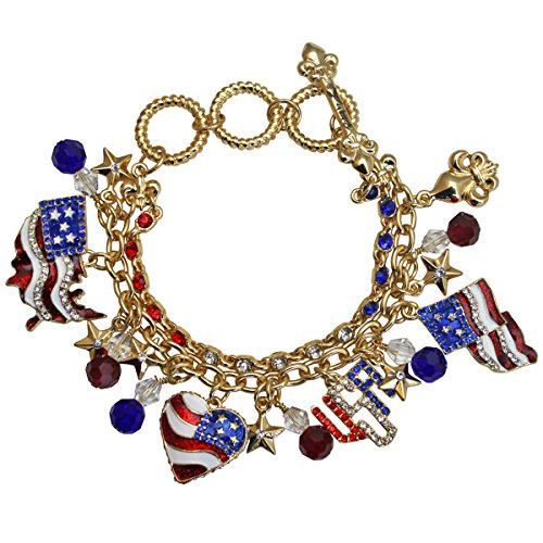 (Ritzy Couture Women's American Flag Charm Two Strands Toggle Bracelet (Goldtone) - 4th of July Independence Day Ornament (Gold))