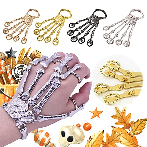 Metal Skeleton Bracelet Halloween Accessories Ghost Claw Gothic Bracelet for Men and Women (Silver)
