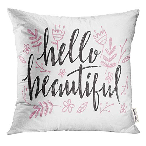 Shirnaile_2ee Throw Pillow Cover Pink Hello Beautiful Lettering with Heart Calligraphy for Baby Birthday Beauty Blogs Girl Decorative Pillow Case Home Decor Square 18x18 Inch Pillowcase]()
