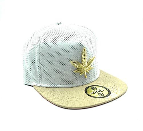 24k Gold Marijuana Weed Leaf Strapback - White Perforated & - Gold Marijuana